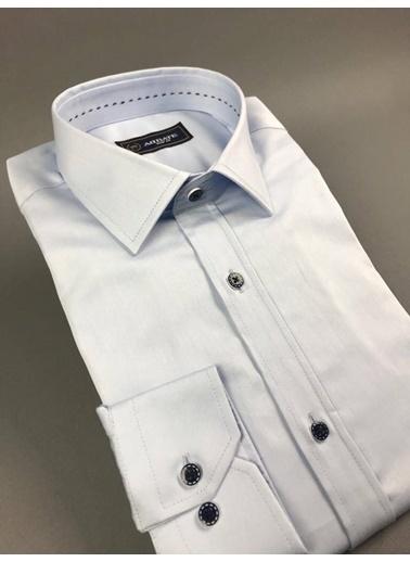 Abbate Klasık Yaka Slımfıt Düz Saten Punto Dıkışlı Gömlek Mavi